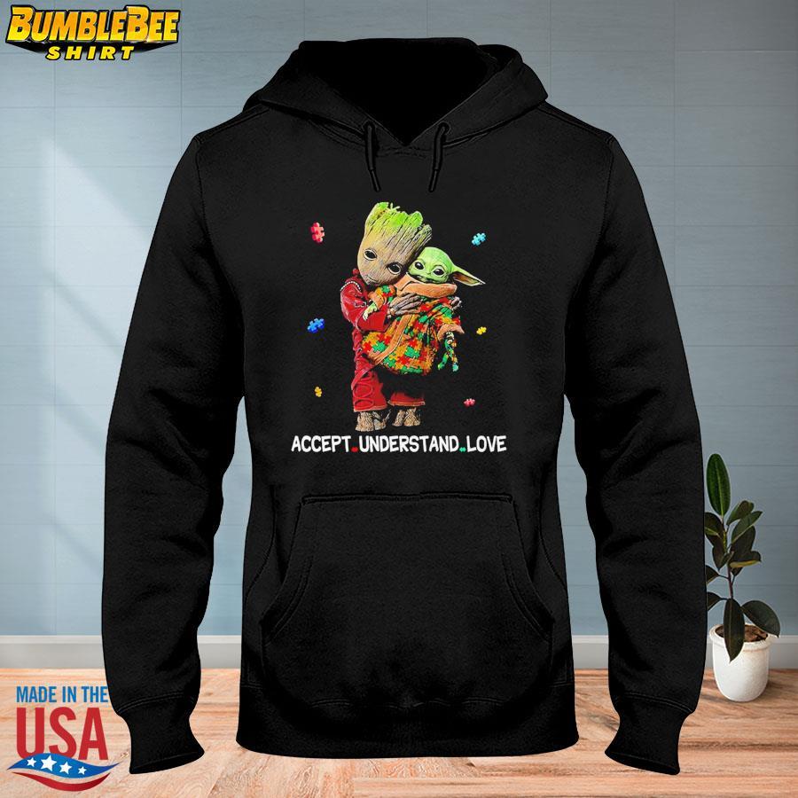 Official Autism accept understand love groot hug baby Yoda s hoodie