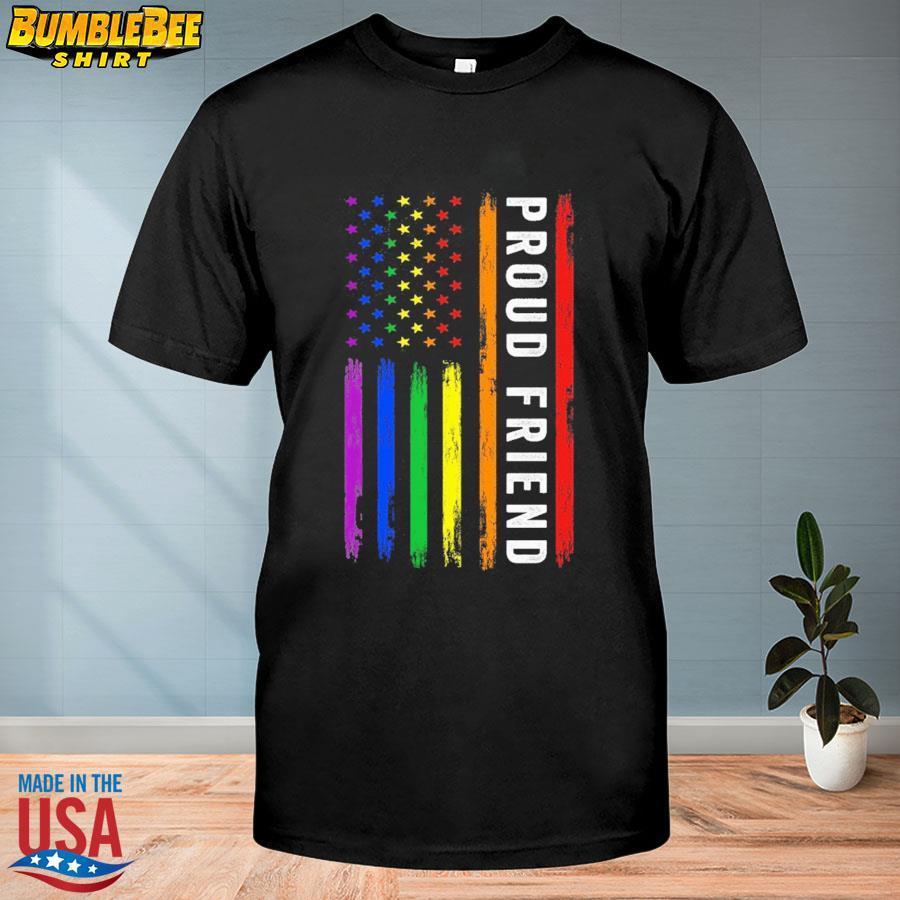Official Lgbt proud friend rainbow American flag shirt