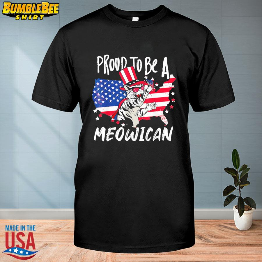 Official Proud to be as Meowican Cat 4th Of July American flag shirt