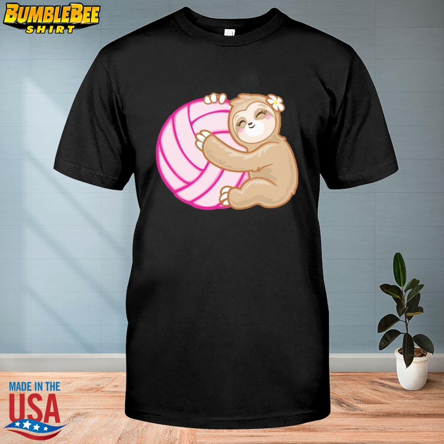 Official Volleyball sloth hug pink ball shirt