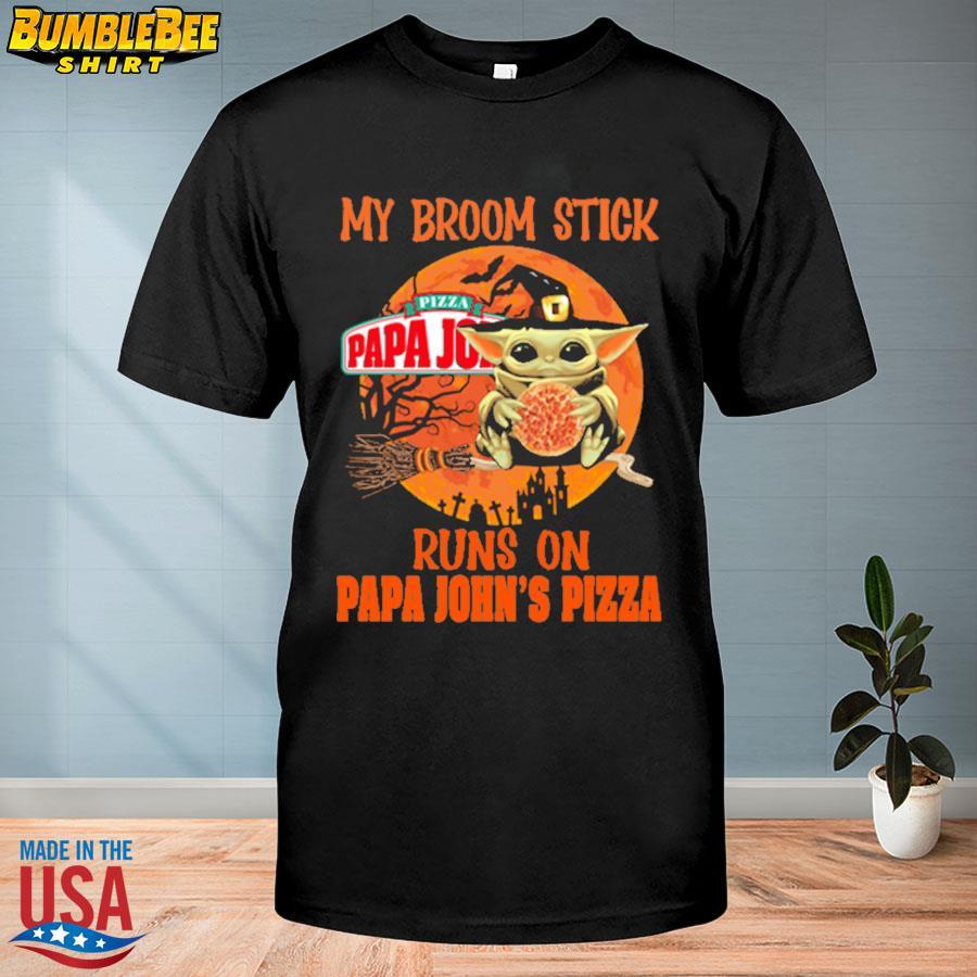 Baby Yoda my broomstick runs on papa John's Pizza Halloween Moon shirt