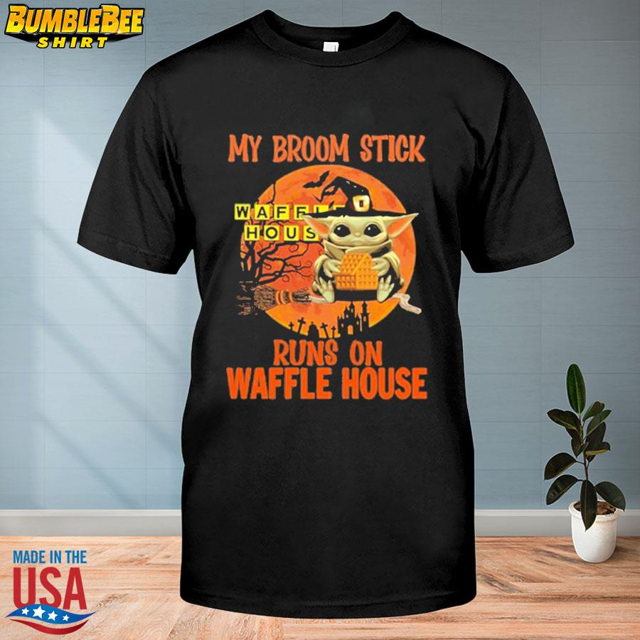 Baby Yoda my broomstick runs on Waffle House Halloween Moon shirt