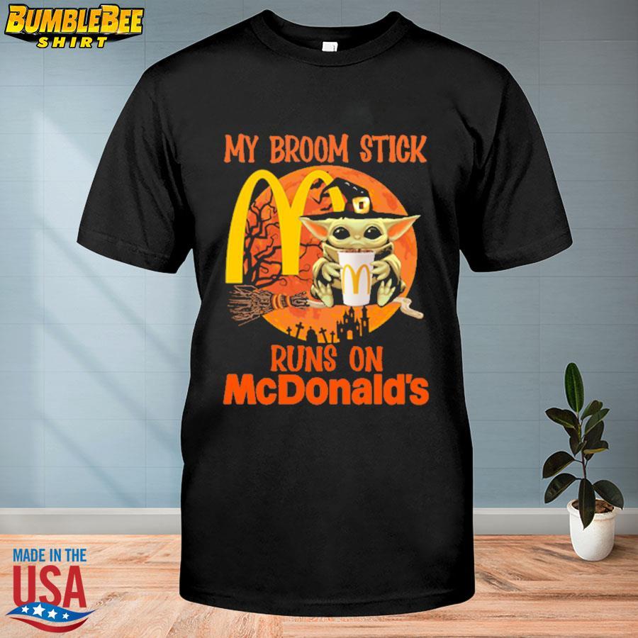 Baby Yoda Witch my broomstick runs on papa McDonald's Halloween Moon shirt