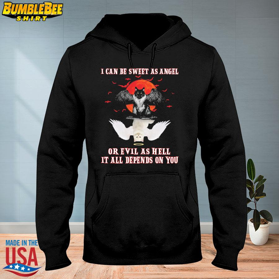 Cat water reflection I can be sweet as angle or evil as hell it all depends on you s hoodie