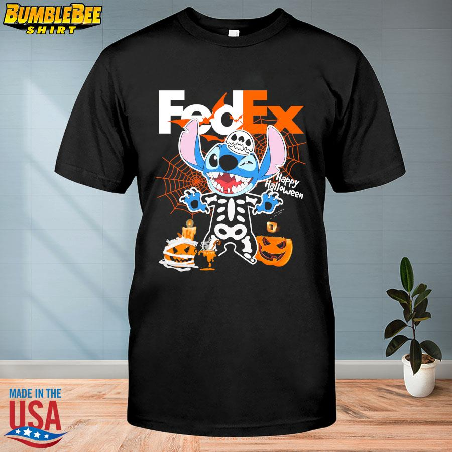 Stitch Skeleton Fedex Happy Halloween shirt